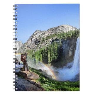 Vernal Fall Hiker and Rainbow - Yosemite Spiral Notebook