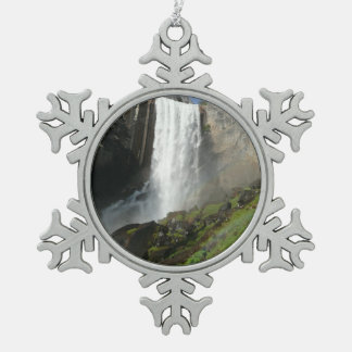 Vernal Falls I in Yosemite National Park Snowflake Pewter Christmas Ornament