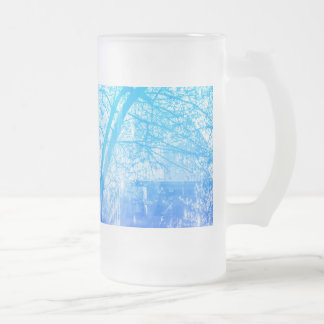 Vernal Tree Frosted Glass Beer Mug