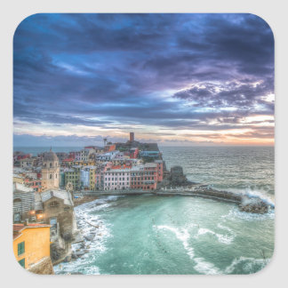 Vernazza at sunset, Italy Square Sticker