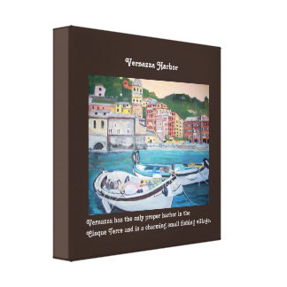 "Vernazza Harbor - 12"" x 12"", 1.5"", Single Canvas Print"