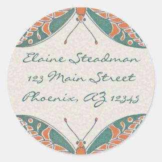 Verneuil  Art Nouveau Butterfly Address Labels Round Sticker
