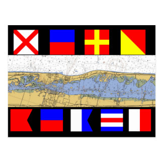 Vero Beach, Florida Nautical Chart Signal Flags Postcard