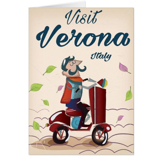 Verona Italian scooter travel poster Card