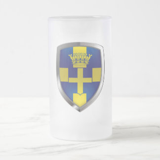 Verona Mettalic Emblem Frosted Glass Beer Mug