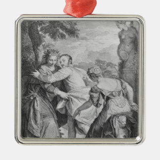 Veronese  between Vice and Virtue Silver-Colored Square Ornament