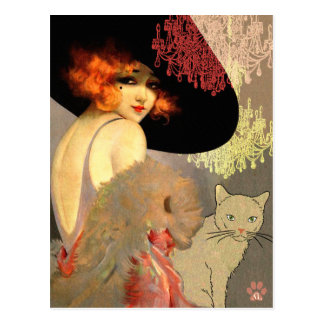 Veronica Cat and Chandelier Postcard