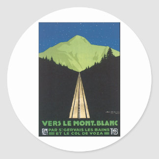Vers le Mont Blanc Classic Round Sticker