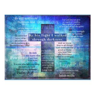 Vers préférés de bible avec la croix chrétienne cartes postales