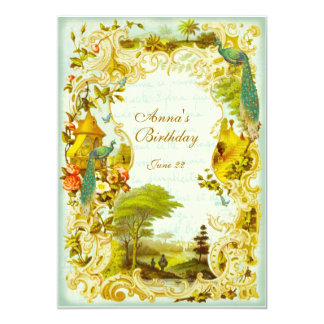 Versailles Peacock Garden Wedding or Event Card