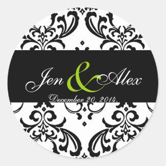Vert blanc noir élégant d'autocollant de mariage