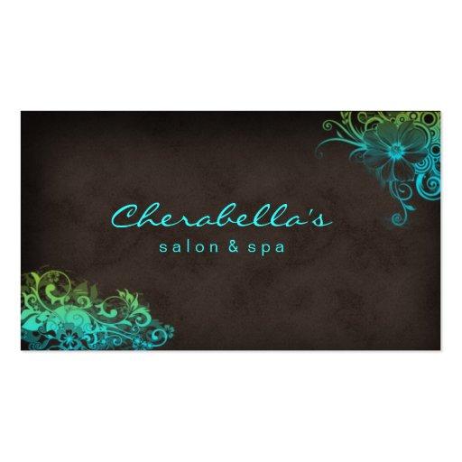Vert bleu Brown de carte de visite floral de salon