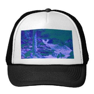 Vert bleu de forêt de jardins de cascades casquette