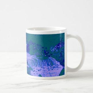 Vert bleu de forêt de jardins de cascades mugs à café