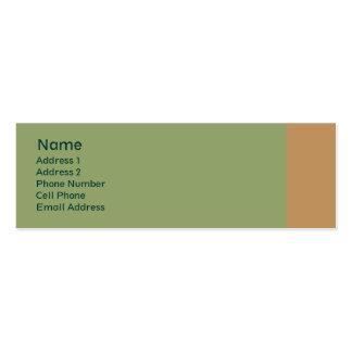 vert clair avec la plaine bronzage carte de visite petit format