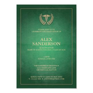 Vert classique et obtention du diplôme médicale de carton d'invitation  12,7 cm x 17,78 cm
