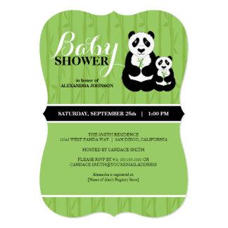 Vert de baby shower de panda carton d'invitation  12,7 cm x 17,78 cm