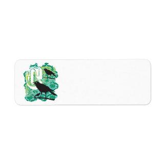 Vert de corneille étiquette d'adresse retour