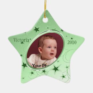 Vert de photo d'All Star de vacances Ornement Étoile En Céramique