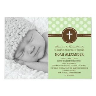 Vert délicieux d'invitation de baptême de photo de carton d'invitation  12,7 cm x 17,78 cm