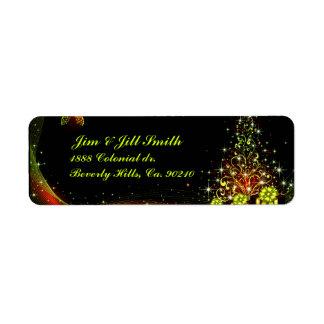Vert du pays des merveilles de nuit de Lit de Noël Étiquette D'adresse Retour