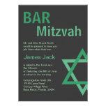 Vert et gris modernes de Mitzvah Invitiation- de b Faire-parts