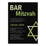 Vert et noir modernes d'invitation de Mitzvah de