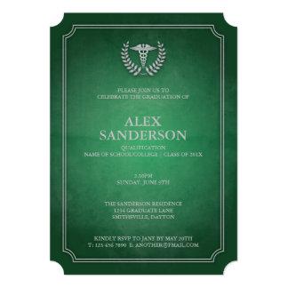 Vert et obtention du diplôme médicale de caducée carton d'invitation  12,7 cm x 17,78 cm