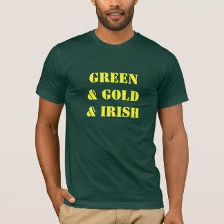 Vert et or et Irlandais - la pièce en t des hommes T-shirt