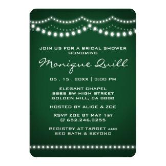Vert-foncé et ficelle allume le wedding shower carton d'invitation  12,7 cm x 17,78 cm