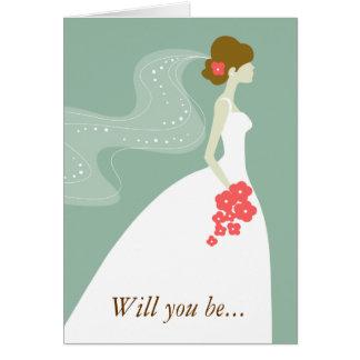 Vert, le rose blanc serez-vous ma demoiselle d'hon cartes de vœux