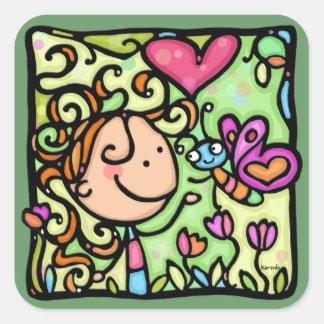 VERT mignon de coeur de fleurs de papillon de Sticker Carré