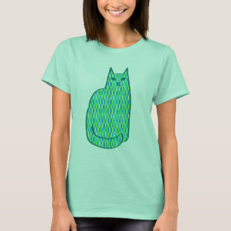 Vert moderne de chat, de menthe et de chaux de la t-shirt
