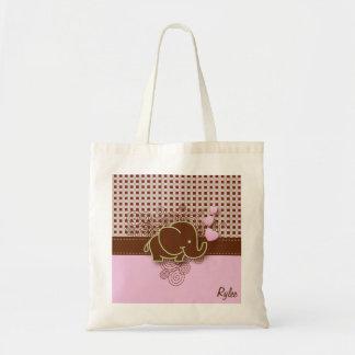 Vert rose de la conception | Brown d'éléphant de Sac En Toile Budget