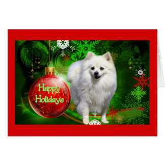 Vert rouge de boule de carte de Noël de Pomeranian