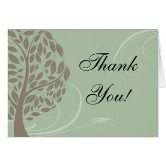 Vert sauge, Merci stylisé doux d'arbre de Brown Carte De Correspondance