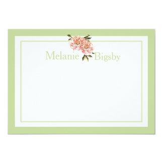 Vert stationnaire personnalisé de rose de cartes carton d'invitation  12,7 cm x 17,78 cm