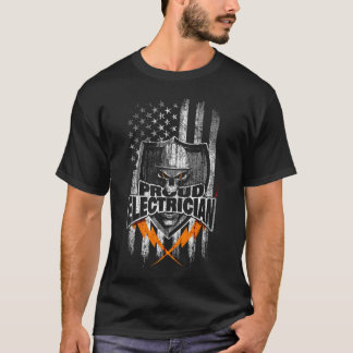 Vertical American Flag Electrician Skull and Bolts T-Shirt