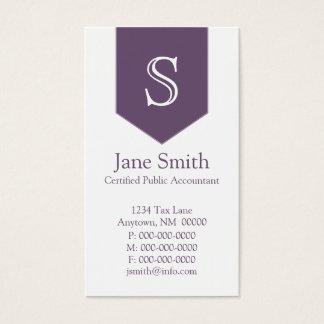 Vertical Arrow Monogram Business Card, Purple Business Card