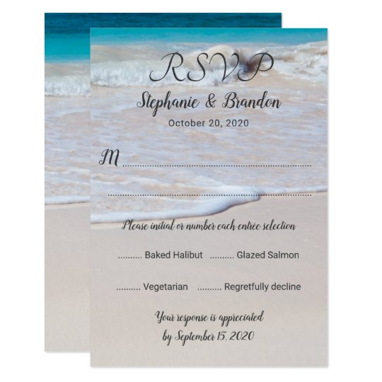 Vertical Beach Scene Menu RSVP Template