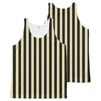 Vertical Beige and Black Stripes All-Over-Print Tank Top