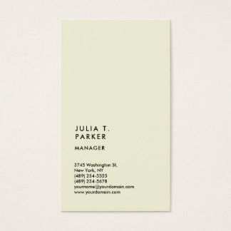 Vertical Beige Minimalist Trend Manager Consultant Business Card
