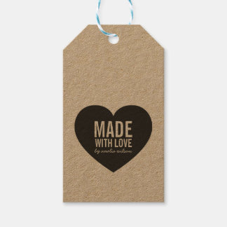 Vertical Bold Rustic Made with Love Heart Kraft Gift Tags