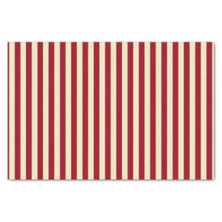 Vertical Burgundy and Cream Stripes Tissue Paper
