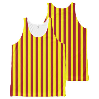 Vertical Burgundy and Yellow Stripes All-Over-Print Tank Top