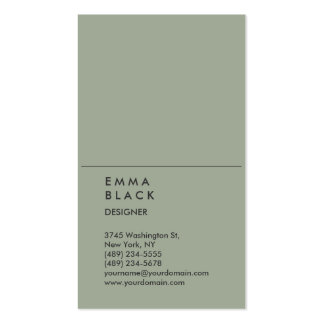 Vertical Chic Grey Stylish Professional Designer Business Card