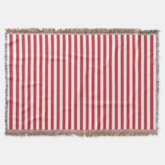 Vertical Fire Engine Red Stripes Throw Blanket