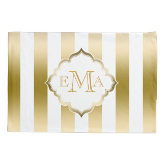 Vertical Gold And White Stripes Pillowcase