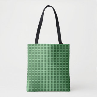 Vertical Green Lines and Squares Tote Bag