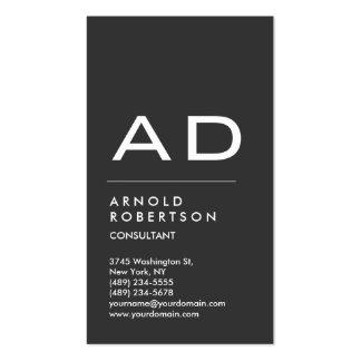 Vertical Grey Trendy Monogram Business Card